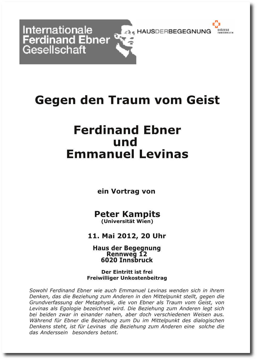 Peter Kampits: Gegen de Traum vom Geist - Ferdinand Ebner und Emmanuel Levinas - Download als PDF
