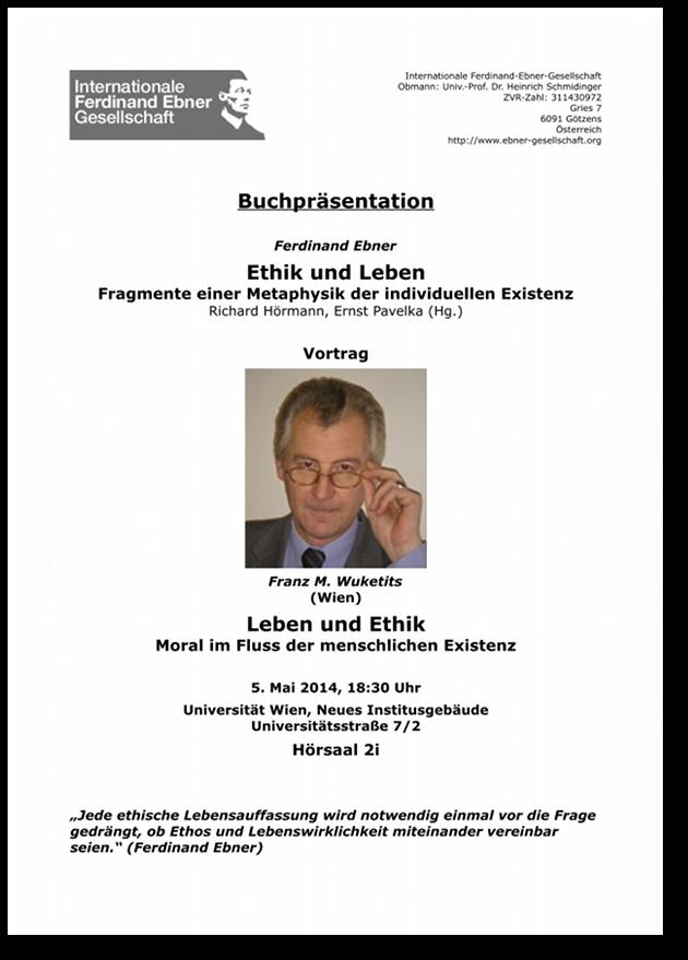 Download Plakat Vortrag Wuketits – Leben und Ethik, Moral im Fluss der menschlichen Existenz