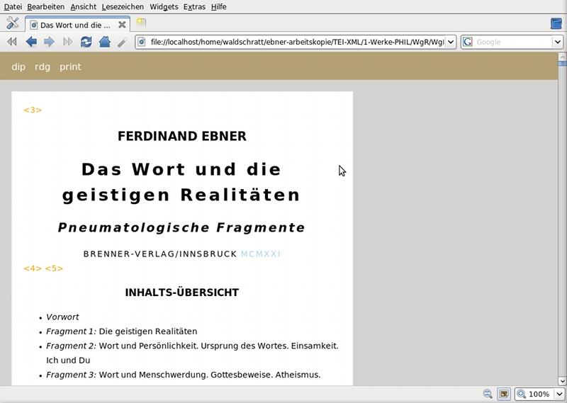 TEI-XML: Browseransicht von