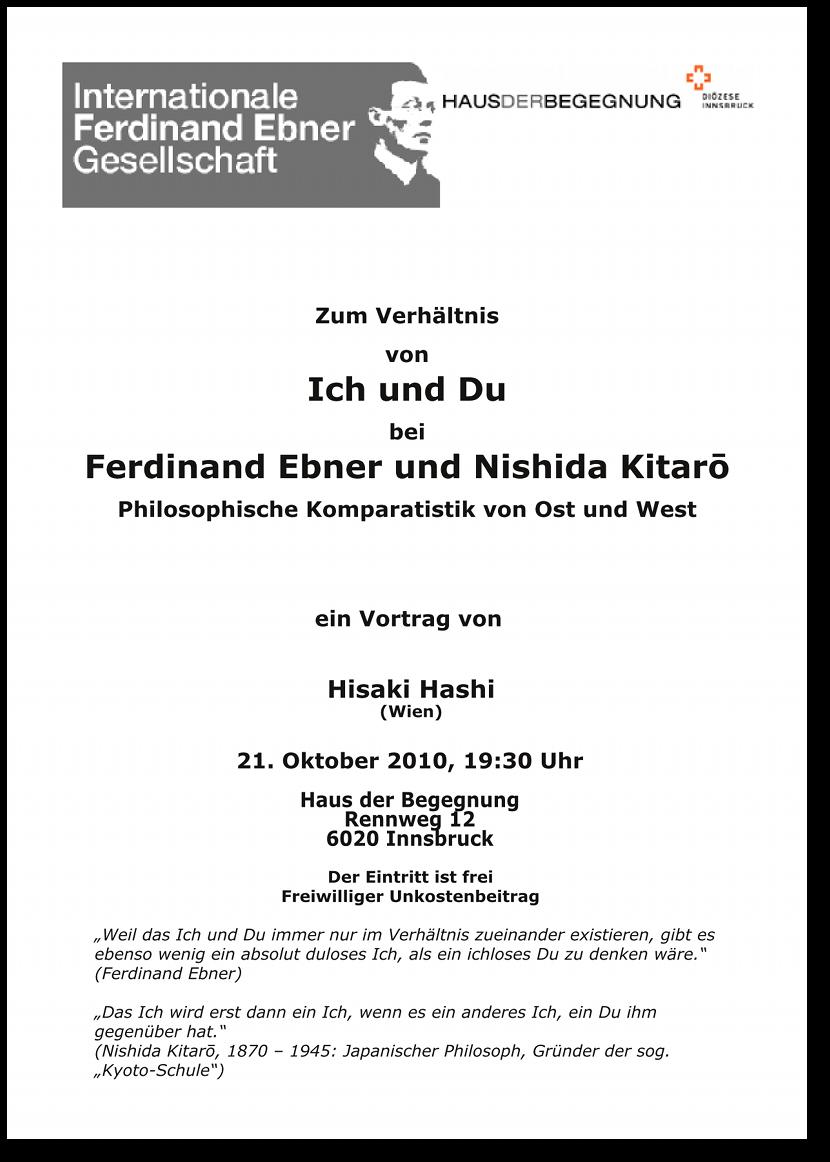 Hisaki Hashi: Ich und Du bei Ferdinand Ebner und Nishida Kitarō