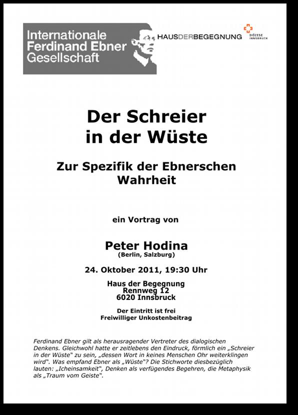 Peter Hodina: Der Schreier in der Wüste, Handzettel. - Download als PDF